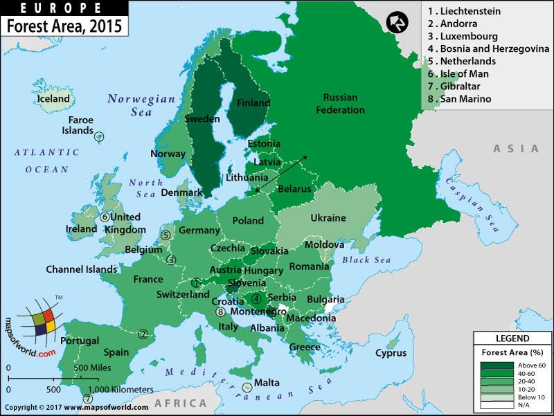 מפת אזורים מיוערים באירופה | חבלי ארץ